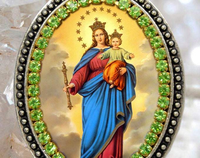 Our Lady, Help of Christians; Nuestra Señora María Auxiliadora Handmade Necklace Catholic Christian Religious Jewelry Medal Pendant