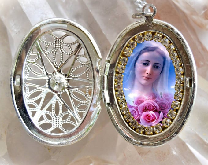 Our Lady of Medjugorje Handmade Locket Necklace Catholic Christian Religious Charm Jewelry Medal Pendant