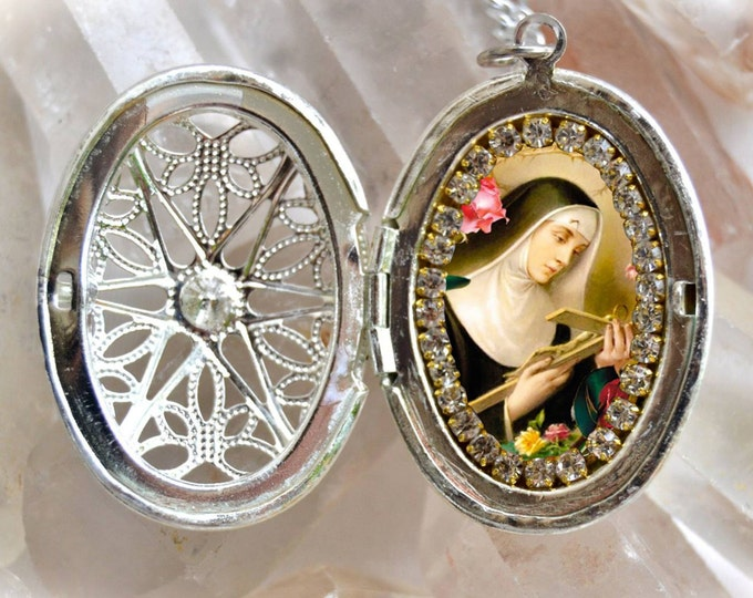 Saint Rita of Cascia or St. Rita de Cassia Locket Handmade Necklace Pendant