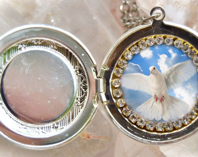 Holy Spirit Handmade Locket Necklace Catholic Christian Religious Jewelry Medal Pendant