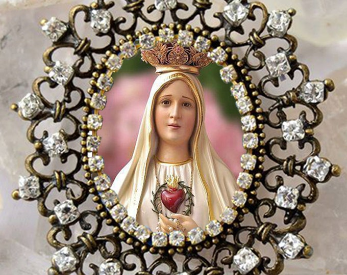 Our Lady of Fatima Handmade Necklace Catholic Christian Religious Jewelry Medal Pendant