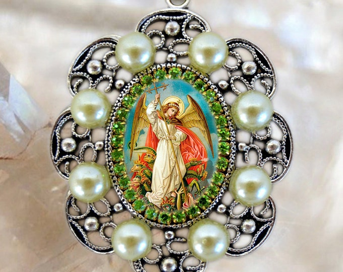 St. Michael Archangel Handmade Necklace Catholic Christian Religious Jewelry Medal Pendant