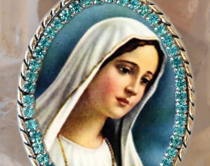 Immaculate Heart of Mary Handmade Necklace Catholic Christian Religious Jewelry Medal Pendant