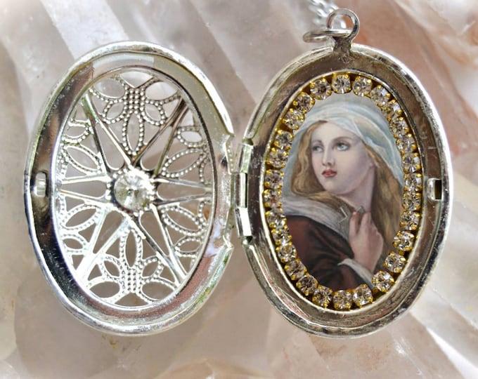 Saint Mary Magdalene Handmade Locket Necklace Catholic Christian Religious Jewelry Medal Pendant