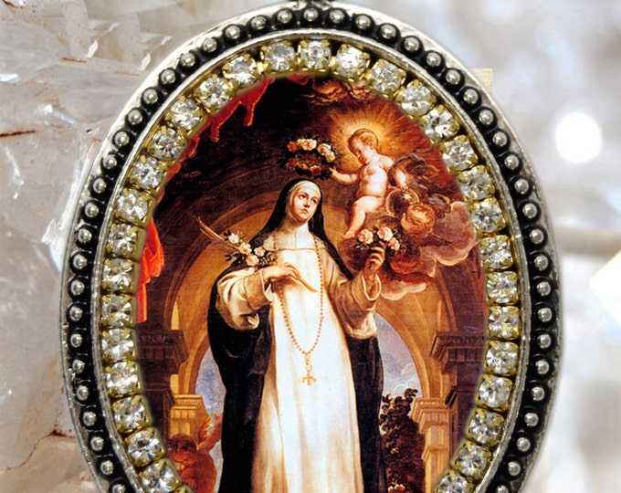 Saint Rose of Lima Locket, Handmade Necklace Catholic Christian Religious Jewelry Medal Pendant Santa Rosa de Lima