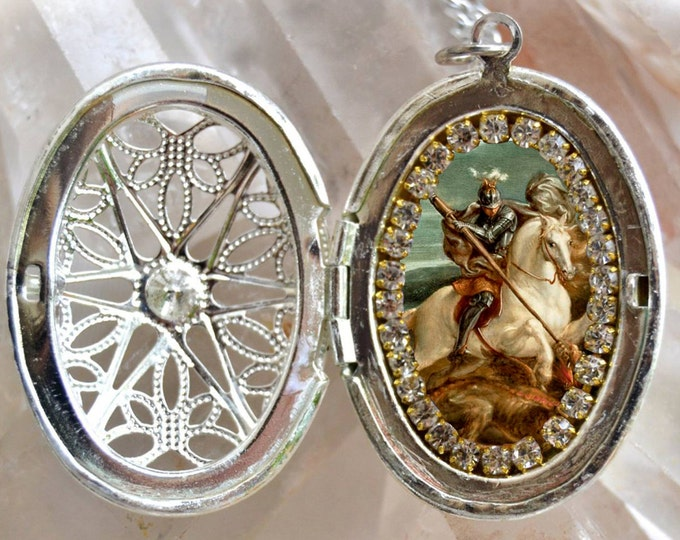 St. George With the Dragon Locket - Patron Saint of England - Handmade Necklace