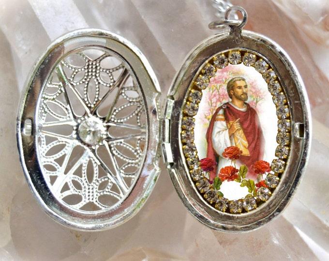 St. Valentine Handmade Locket Necklace Catholic Christian Religious Charm Jewelry Medal Pendant
