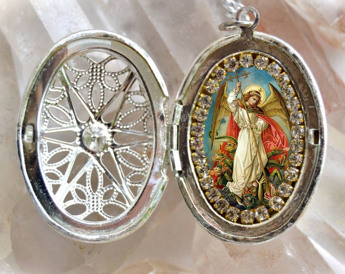 St. Michael Archangel Handmade Locket Necklace