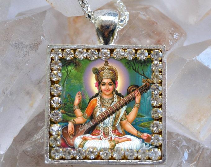 Saraswati Vandana Goddess Handmade Necklace Hindu Jewelry Medal Pendant Sarasvati