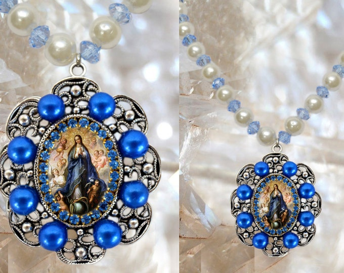 Our Lady Immaculate Conception of Mary Handmade Necklace Catholic Christian Religious Jewelry Medal Pendant, Mary Immaculate