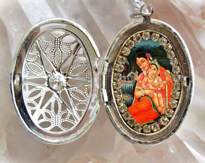 Goddess Parvati and Lord Ganesha Chatutthi or Ganesh Locket Charm Necklace Jewelry Medal Pendant Hindu Devotion