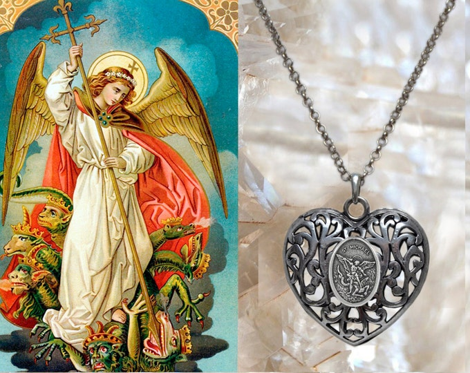 Heart of St. Michael Archangel Handmade Necklace Pendant