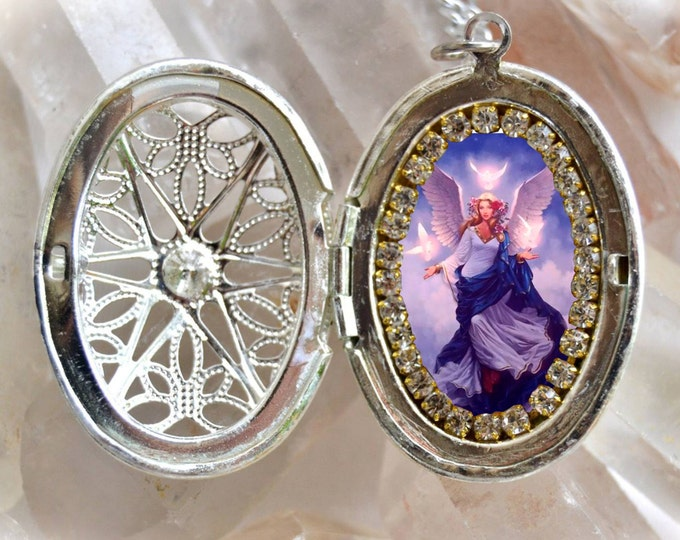 Guardian Angel Handmade Locket Necklace Catholic Christian Religious Jewelry Medal Pendant