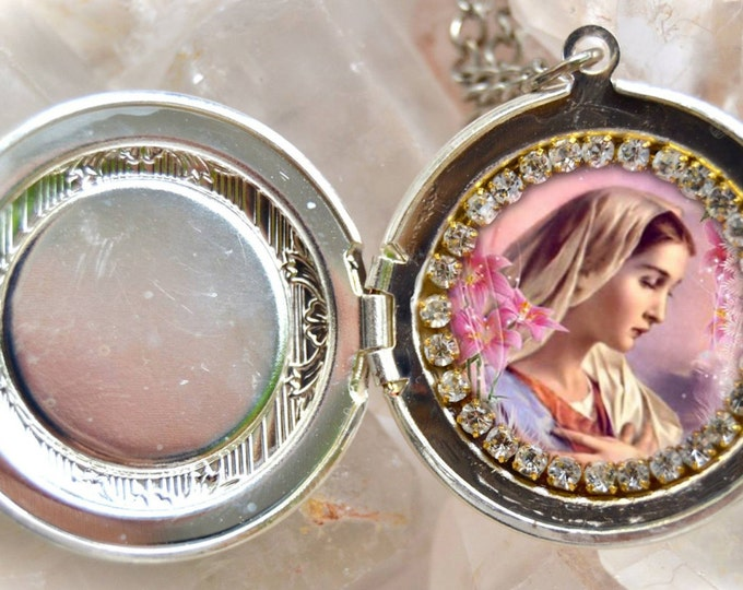 Our Lady Mary Handmade Locket Necklace Catholic Christian Religious Jewelry Medal Pendant