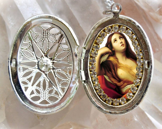 Saint Mary Magdalene Handmade Locket Necklace Catholic Christian Religious Jewelry Medal Pendant