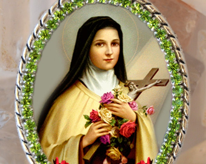 Saint Therese of Lisieux , Santa Teresa,Handmade Necklace Catholic Christian Religious Jewelry Medal Pendant