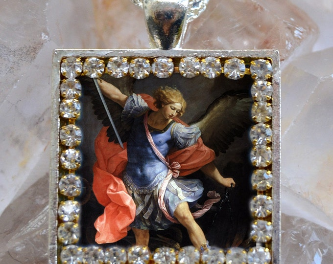 St. Michael Archangel Handmade Necklace Catholic Christian Religious Jewelry Medal Scapular Pendant