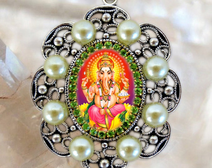Lord Ganesha Chatutthi or Ganesh Handmade Necklace Hindu Jewelry Medal Pendant