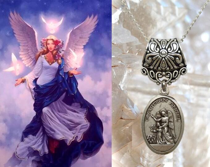 Guardian Angel Charm Necklace Catholic Christian Religious Jewelry Medal Pendant, Anjo da Guarda