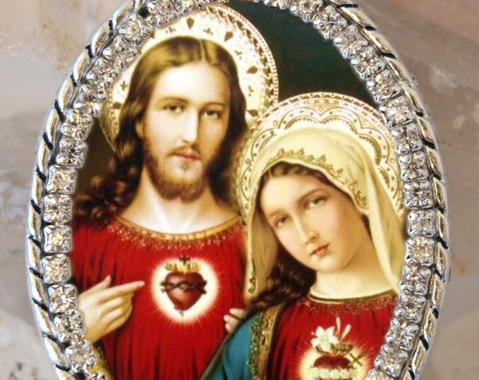 Immaculate Heart of Mary and Sacred Heart of Jesus Handmade Necklace Catholic Christian Religious Jewelry Medal Pendant