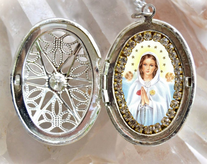 Virgin Mary Mystical Rose or Maria Rosa Mystica Handmade Locket Necklace Catholic Christian Religious Jewelry Medal Pendant