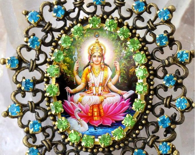 Saraswati Vandana Goddess Handmade Necklace Hindu Jewelry Sarasvati