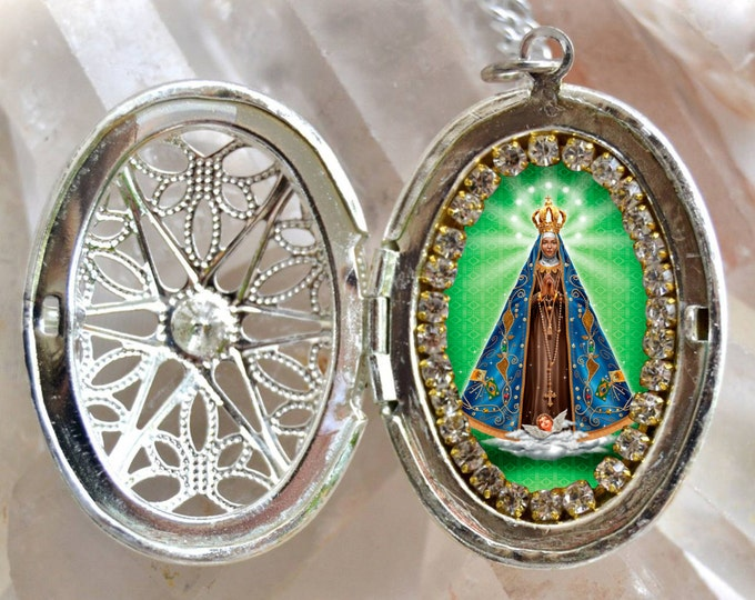 Our Lady of Aparecida Brazil Patroness Padroeira do Brasil Handmade Locket Necklace Catholic Christian Religious Jewelry Medal Pendant