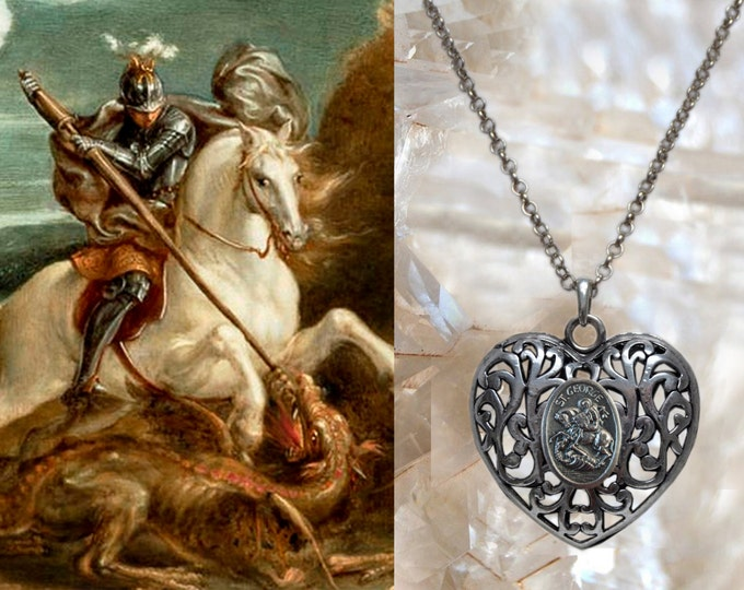 St. George With The Dragon Handmade Necklace Catholic Christian Religious Jewelry Medal Pendant