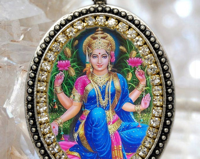 Goddess Lakshmi Handmade Charm Necklace Hindu Indian Jewelry Medal Pendant