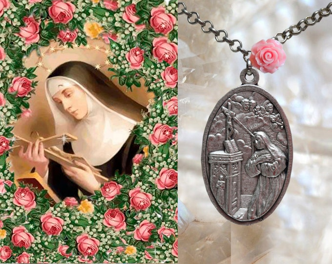 Saint Rita of Cascia or St. Rita de Cassia  Necklace Catholic Christian Religious Jewelry Medal Pendant