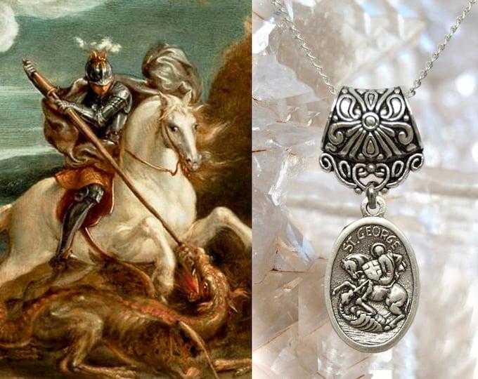 Saint George with the Dragon, Charm Necklace Catholic Christian Religious Jewelry Medal Pendant, São Jorge Guerreiro