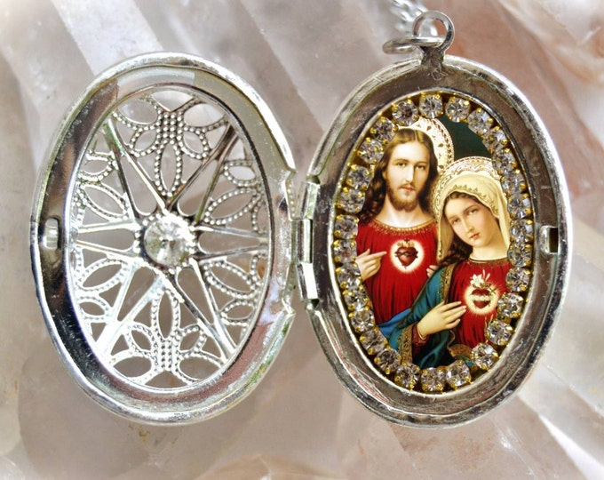 Immaculate Heart of Mary and Sacred Heart of Jesus Locket Handmade Necklace Catholic Christian Religious Jewelry Medal Pendant