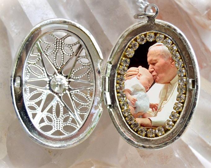 Pope John Paul II Handmade Locket Necklace Catholic Christian Religious Jewelry Medal Pendant