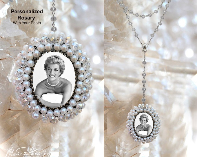 MEMORIAL Rosary with Embroidered Medallion Custom with YOUR PHOTO Hand Embroidered with Pearls and Glass Bead