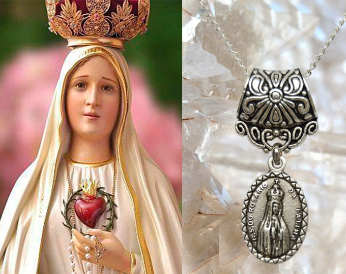 Our Lady of Fatima Charm Necklace Catholic Christian Religious Jewelry Medal Pendant, Nossa Senhora de Fatima