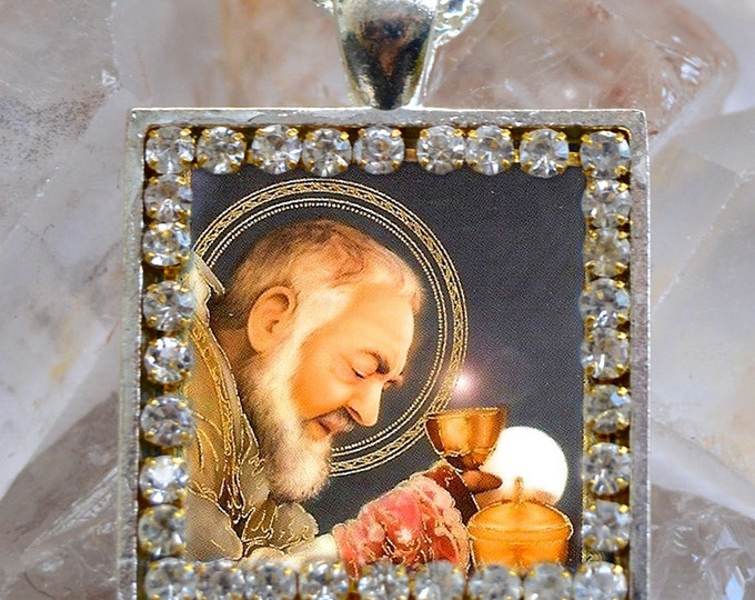 St. Padre Pio Handmade Scapular Necklace Catholic Christian Religious Jewelry Medal Pendant