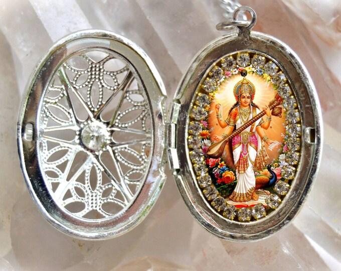Saraswati Vandana Goddess Handmade Locket Necklace Hindu Jewelry Medal Pendant Sarasvati