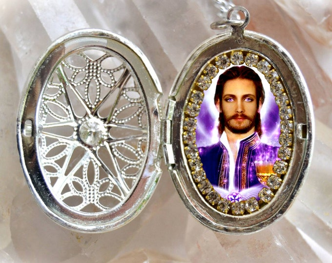 Saint Germain The Ascended Master of the Violet Flame Seventh Ray Locket Necklace