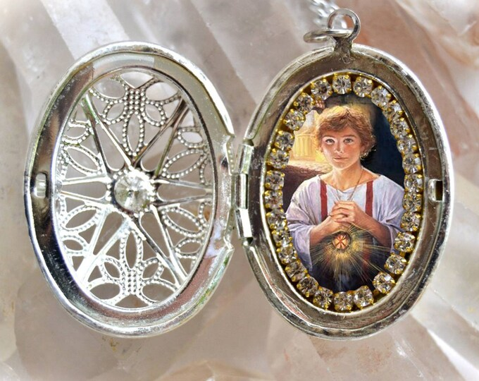 Saint Tarcisius Handmade Locket Catholic Christian Religious Jewelry Medal Pendant, Santo Tarcisio