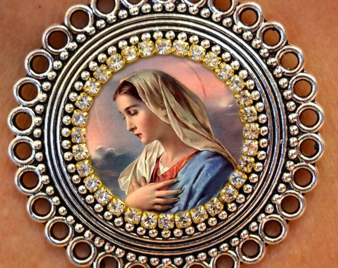 Our Lady Mary Handmade Locket Necklace Catholic Christian Religious Jewelry Medal Pendant