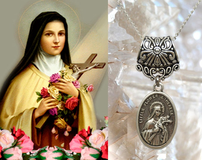 Therese of Lisieux Necklace - The Little Flower - Patroness of Missionaries; HIV/AIDS Sufferers; Florists; Gardeners & Loss of Parents