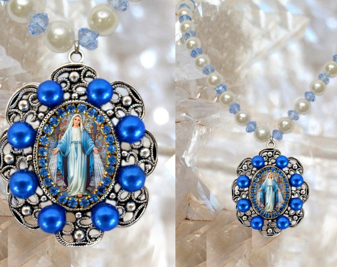Our Lady Mary Mediatrix of All-Grace Handmade Charm Necklace Miraculous Medal Catholic Christian Religious Jewelry Medal Pendant
