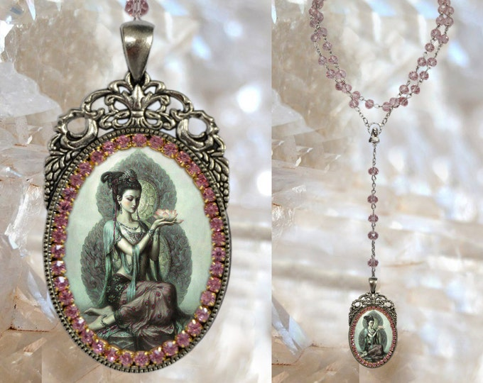Rosary of Kuan Yin Goddess of Mercy and Compassion Handmade Jewelry Medal Pendant