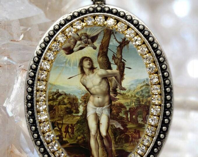 Saint Sebastian, Handmade Charm Necklace Catholic Christian Religious Jewelry Medal Pendant