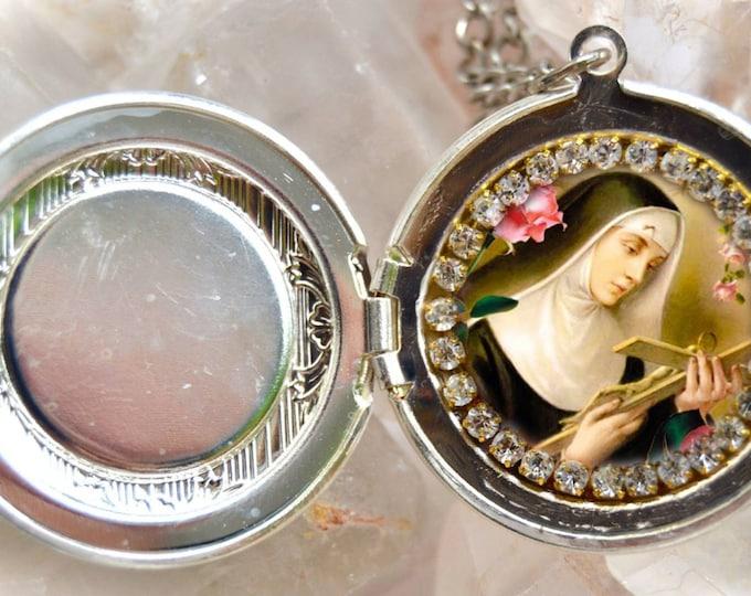 Saint Rita of Cascia or St. Rita de Cassia Locket Handmade Necklace Catholic Christian Religious Jewelry Medal Pendant