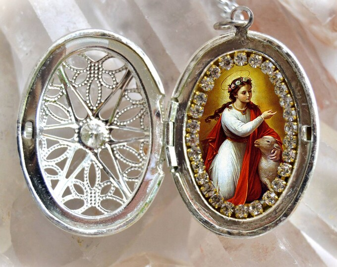 Saint Agnes Handmade Locket Necklace