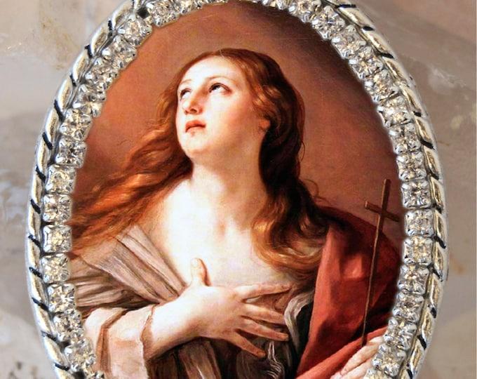 Saint Mary Magdalene Handmade Necklace Catholic Christian Religious Jewelry Medal Pendant
