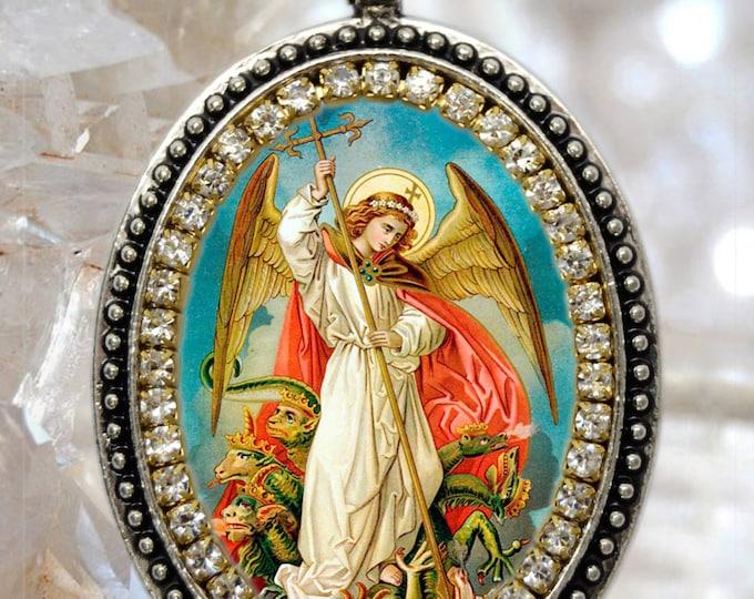 St. Michael Archangel Handmade Necklace Catholic Christian Religious Charm Jewelry Medal Pendant