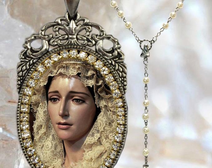 Maria De La Estrella - Rosary - Vélez Malaga - Virgen De La Estrella - Handmade - Necklace Christian Religious Jewelry Medal