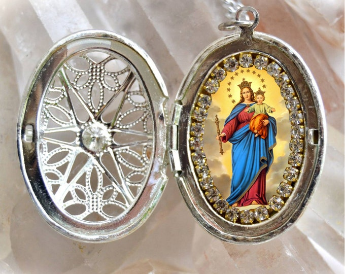 Our Lady, Help of Christians; Nuestra Señora María Auxiliadora Handmade Locket Necklace Catholic Christian Religious Jewelry Medal Pendant